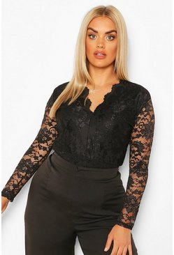 Black Plus Long Sleeve Lace Bodysuit
