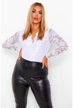 White Plus Longsleeve Lace Bodysuit