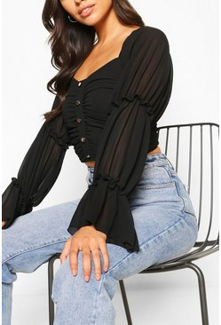 Black Petite Volume Sleeve Ruched Front Crop Top