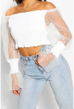 White Petite Shirred Organza Spot Sleeve Crop
