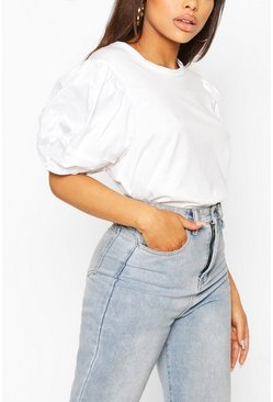 White Petite T-Shirt With Woven Volume Sleeve