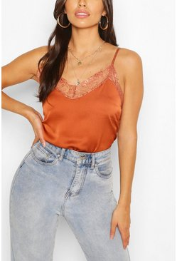 Rust orange Petite Lace Trim Satin Cami