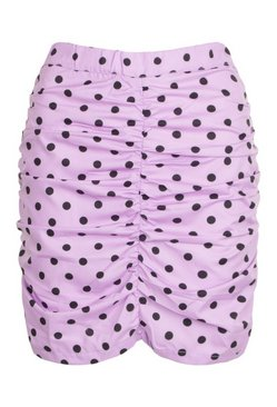 Lilac Petite Polka Dot Ruched Mini Skirt