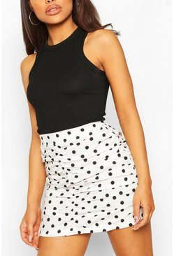 White Petite Polka Dot Ruched Mini Skirt