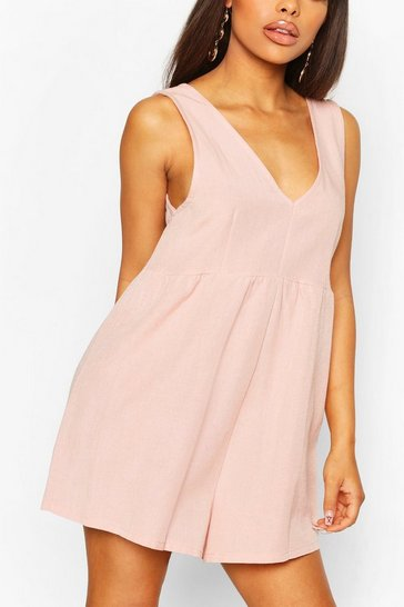 Peach orange Petite V Neck Linen Look Playsuit