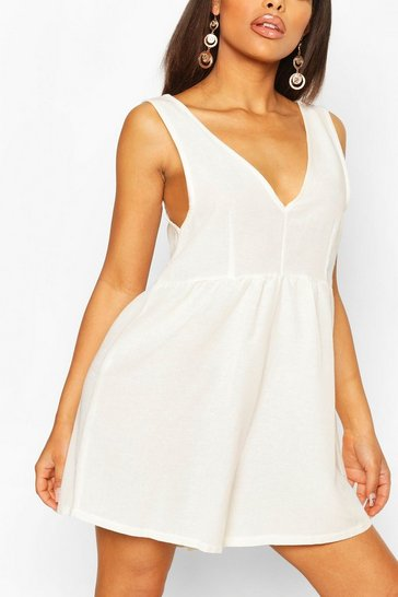 White Petite V Neck Linen Look Playsuit