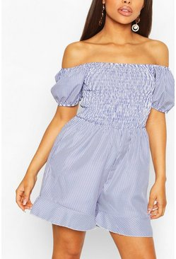 Blue Petite Pin Stripe Shirred Top Frill Hem Playsuit