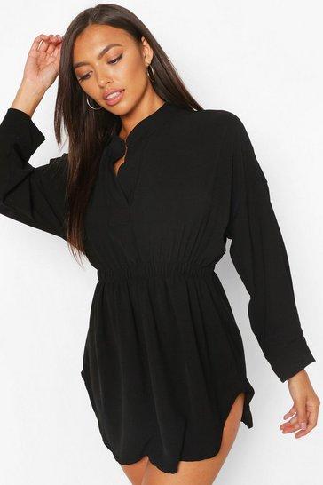 Black Petite Woven Shirt Skater Dress