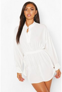 Ivory white Petite Woven Shirt Skater Dress