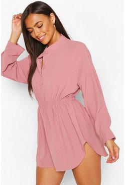 Rose Petite Woven Shirt Skater Dress