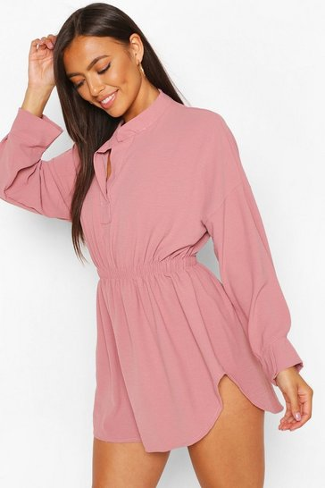Rose pink Petite Woven Shirt Skater Dress