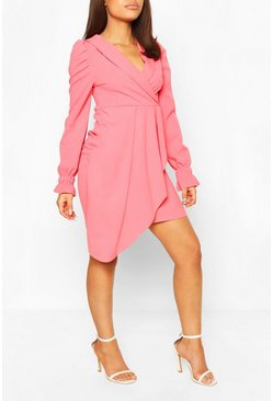 Coral pink Petite Wrap Front Volume Sleeve Blazer Dress