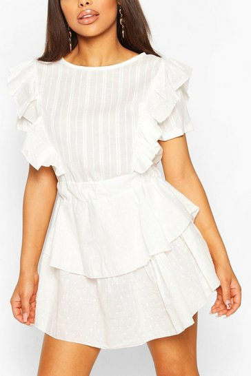 White Petite Dobby Spot Cotton Skater Dress