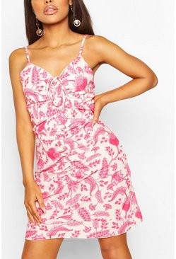 Pink Petite Floral Printed Ruched Mini Dress