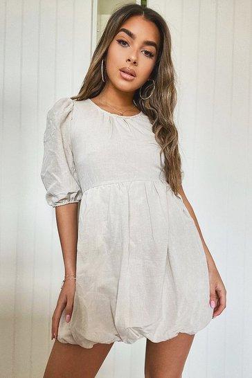 Stone beige Petite Linen Look Puffball Mini Dress