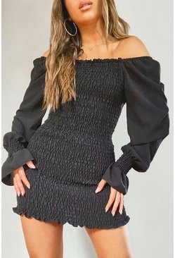 Black Petite Volume Sleeve Shirred Mini Dress