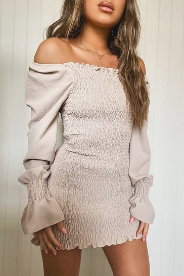 Stone beige Petite Volume Sleeve Shirred Mini Dress