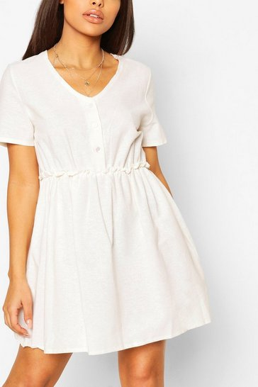 Ecru white Petite Linen Button Through Smock Dress