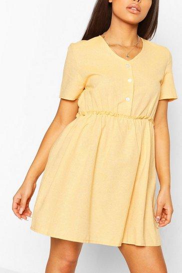 Mustard yellow Petite Linen Button Through Smock Dress