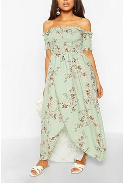 Sage green Petite Floral Shirred Wrap Front Maxi Dress