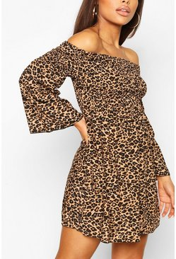 Brown Petite Leopard Shirred Bardot Mini Dress