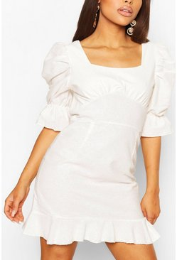 Ecru white Petite Linen Look Volume Sleeve Mini Dress