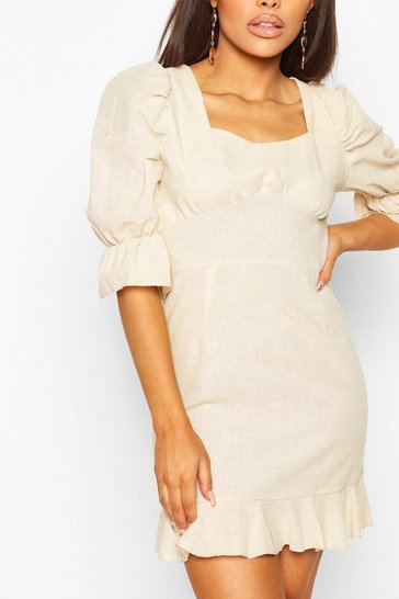 Stone beige Petite Linen Look Volume Sleeve Mini Dress