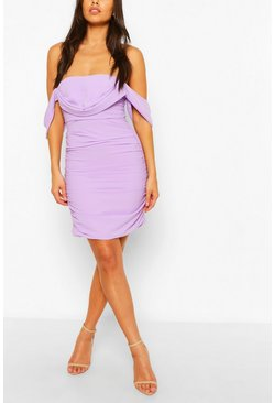 Lilac purple Petite Ruched Off The Shoulder Dress