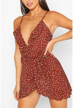 Brown Petite Polka Dot Strappy Wrap Dress
