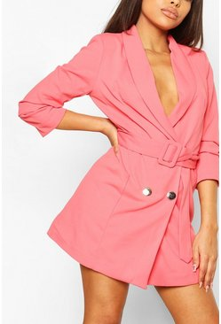 Coral pink Petite Belted Ruched Blazer Dress