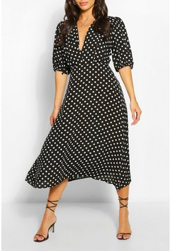 Black Petite Polka Dot Midaxi Dress