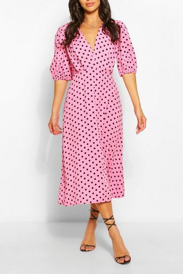 Purple Petite Polka Dot Midaxi Dress