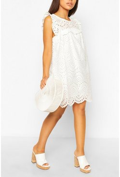 White Petite Frill Detail Eyelet Smock Dress