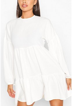Ivory white Petite Tiered Balloon Sleeve Smock Dress