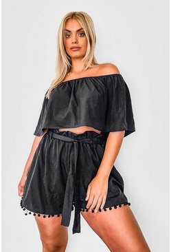 Black Plus Off Shoulder Pom Pom Short Two-Piece
