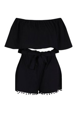 Black Plus Off Shoulder Pom Pom Short Co-ord