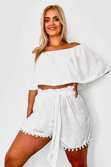 White Plus Off Shoulder Pom Pom Short Co-ord