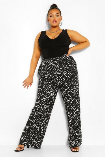 Black Plus Woven Polka Dot Elasticated Trouser