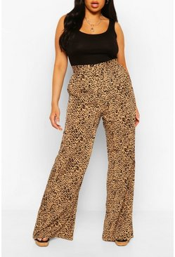 Plus Woven Leopard Wide Leg Trouser