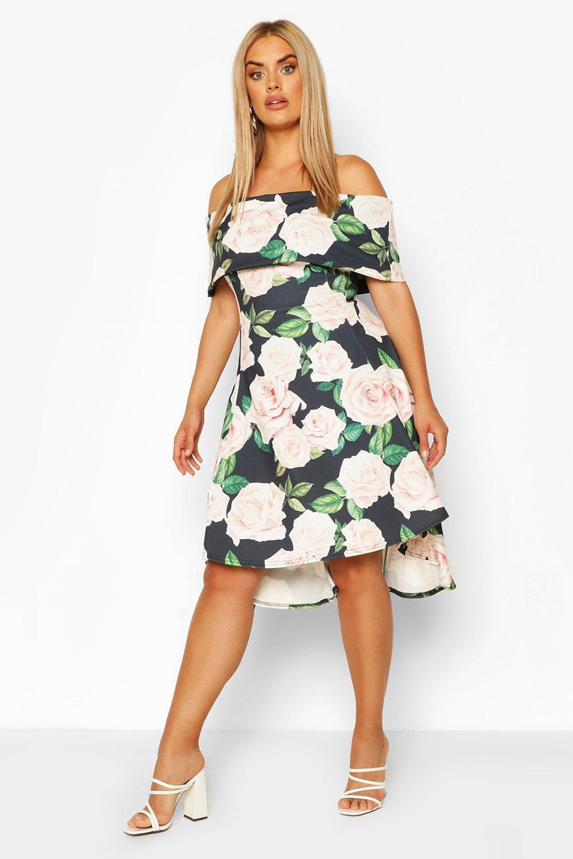 Plus Floral Off Shoulder Dipped Hem Midi Dress 7