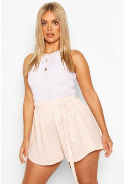 Blush pink Plus Woven Belted Tailored Shorts