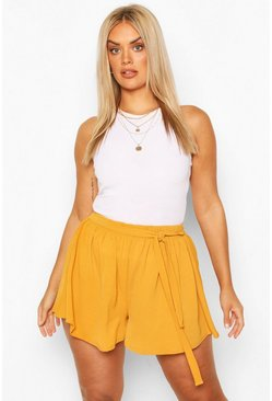 Mustard yellow Plus Woven Belted Tailored Shorts