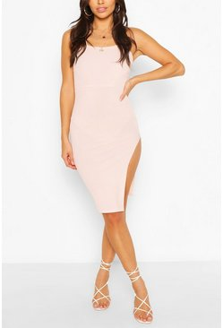 Blush pink Petite Cross Back Thigh Split Midi Dress
