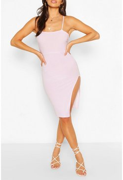 Lilac purple Petite Cross Back Thigh Split Midi Dress