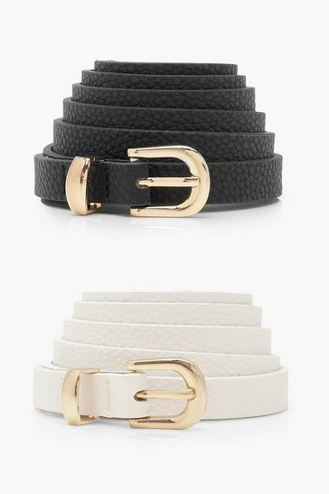 Black Plus 2 Pack Skinny Belt