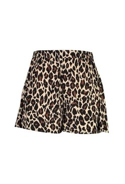 Plus Jersey Leopard Flippy Short