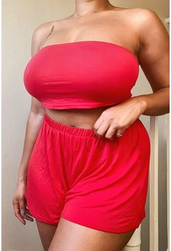 Red Plus Jersey Bandeau & Flippy Shirt Co-ord