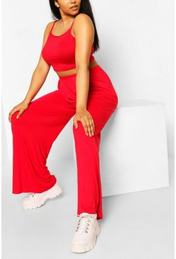 Red Plus Jersey Cami & Wide Leg Pants Two-Piece