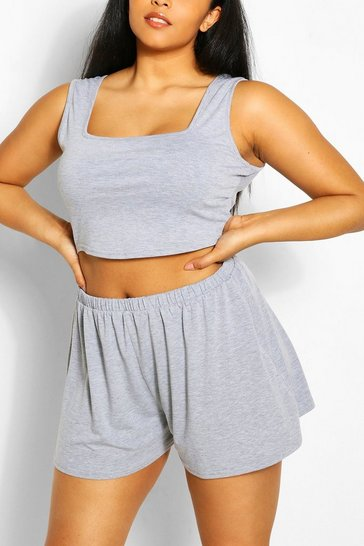 Grey marl grey Plus Jersey Vest Top and Flippy Short Co-Ord