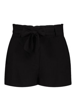 Black Petite Paperbag High Waisted Shorts